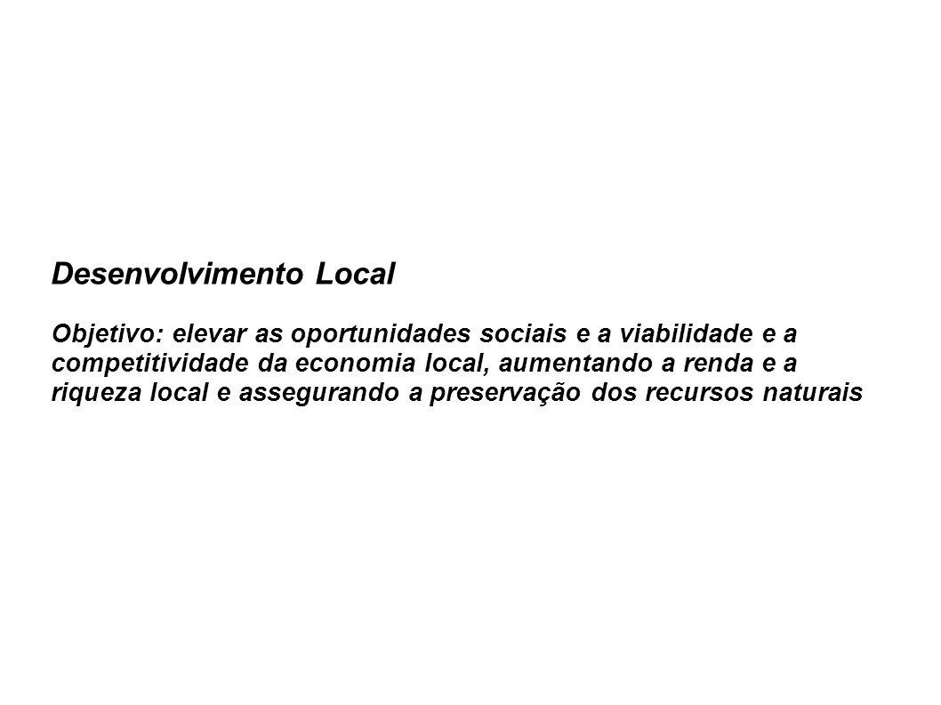 Desenvolvimento Local Objetivo: elevar as oportunidades sociais e a viabilidade e a competitividade da economia local, aumentando a renda e a riqueza