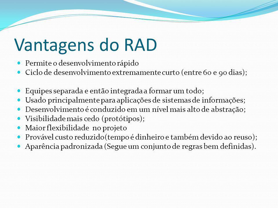 Vantagens do RAD Permite o desenvolvimento rápido Ciclo de desenvolvimento extremamente curto (entre 60 e 90 dias); Equipes separada e então integrada