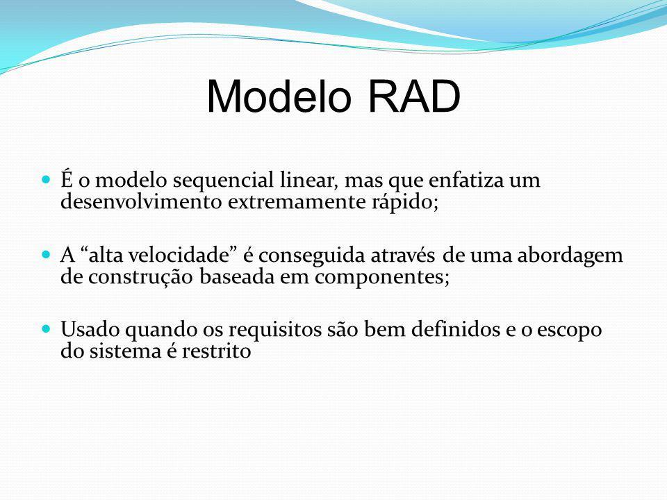 "Modelo RAD É o modelo sequencial linear, mas que enfatiza um desenvolvimento extremamente rápido; A ""alta velocidade"" é conseguida através de uma abor"
