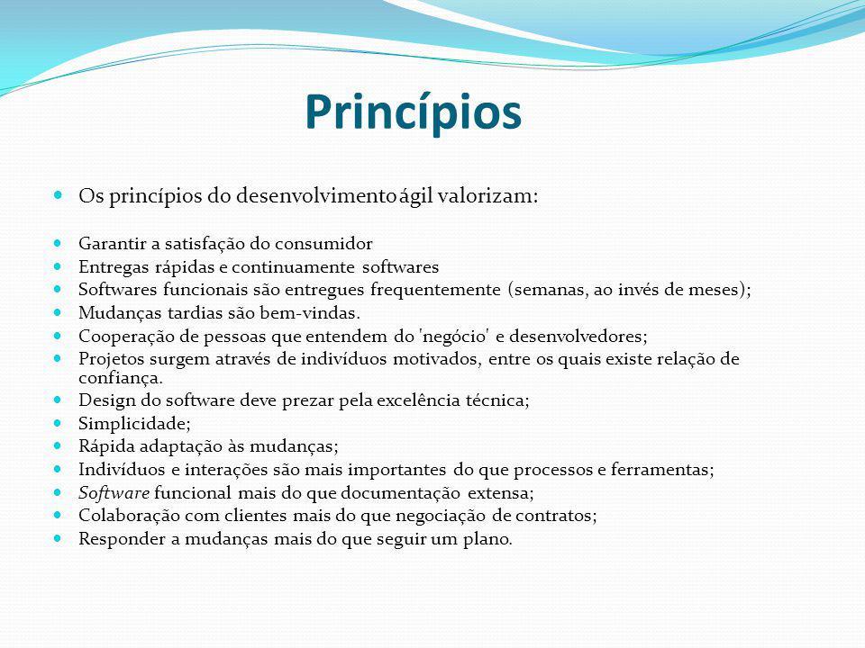 Princípios Os princípios do desenvolvimento ágil valorizam: Garantir a satisfação do consumidor Entregas rápidas e continuamente softwares Softwares f