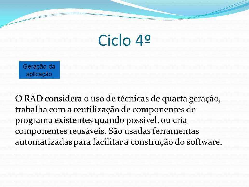 Ciclo 4º O RAD considera o uso de técnicas de quarta geração, trabalha com a reutilização de componentes de programa existentes quando possível, ou cr