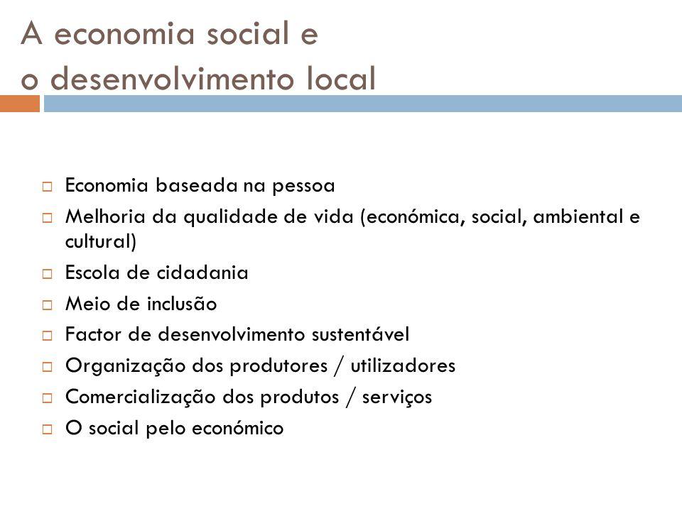 A economia social e o desenvolvimento local  Economia baseada na pessoa  Melhoria da qualidade de vida (económica, social, ambiental e cultural)  E