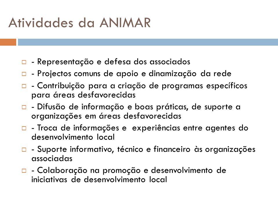 Atividades da ANIMAR  - Representação e defesa dos associados  - Projectos comuns de apoio e dinamização da rede  - Contribuição para a criação de