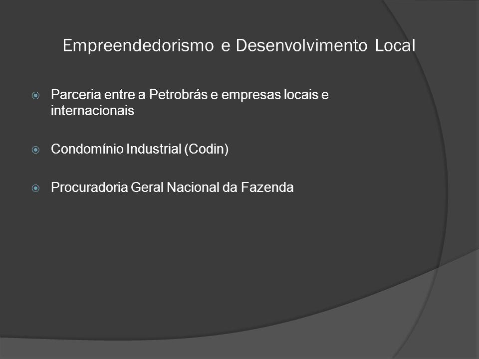 Empreendedorismo e Desenvolvimento Local  Parceria entre a Petrobrás e empresas locais e internacionais  Condomínio Industrial (Codin)  Procuradoria Geral Nacional da Fazenda