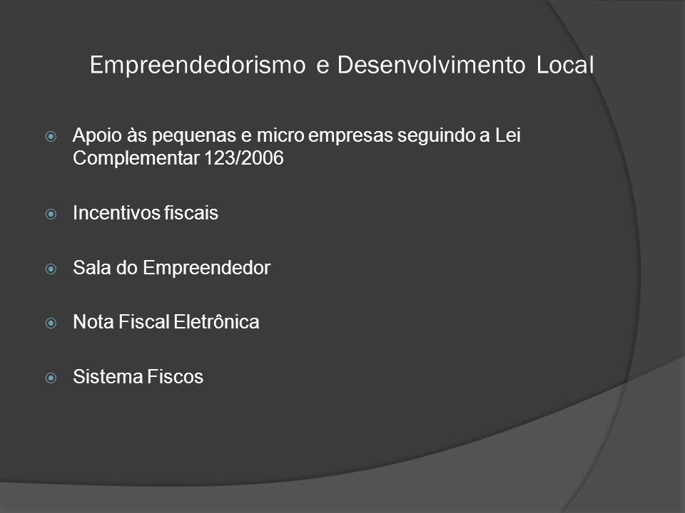  Apoio às pequenas e micro empresas seguindo a Lei Complementar 123/2006  Incentivos fiscais  Sala do Empreendedor  Nota Fiscal Eletrônica  Sistema Fiscos Empreendedorismo e Desenvolvimento Local