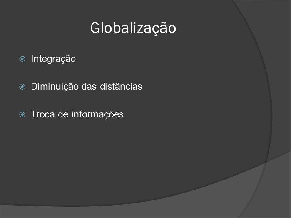 Globalização  Integração  Diminuição das distâncias  Troca de informações