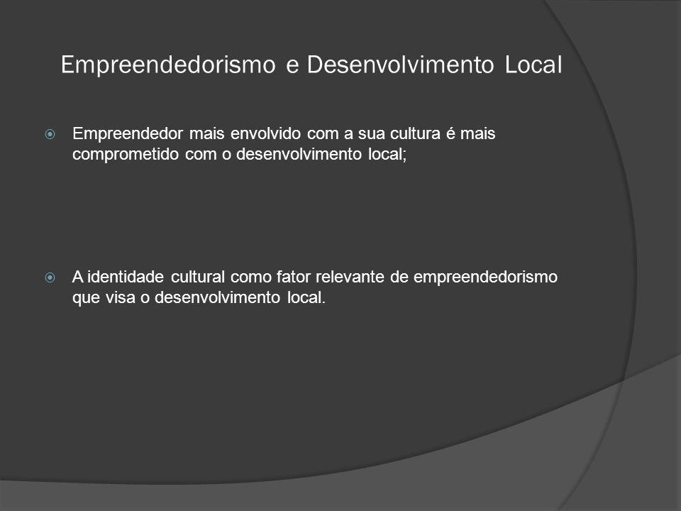Empreendedorismo e Desenvolvimento Local  Empreendedor mais envolvido com a sua cultura é mais comprometido com o desenvolvimento local;  A identidade cultural como fator relevante de empreendedorismo que visa o desenvolvimento local.