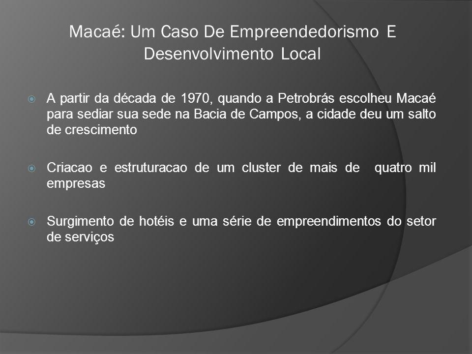  A partir da década de 1970, quando a Petrobrás escolheu Macaé para sediar sua sede na Bacia de Campos, a cidade deu um salto de crescimento  Criacao e estruturacao de um cluster de mais de quatro mil empresas  Surgimento de hotéis e uma série de empreendimentos do setor de serviços