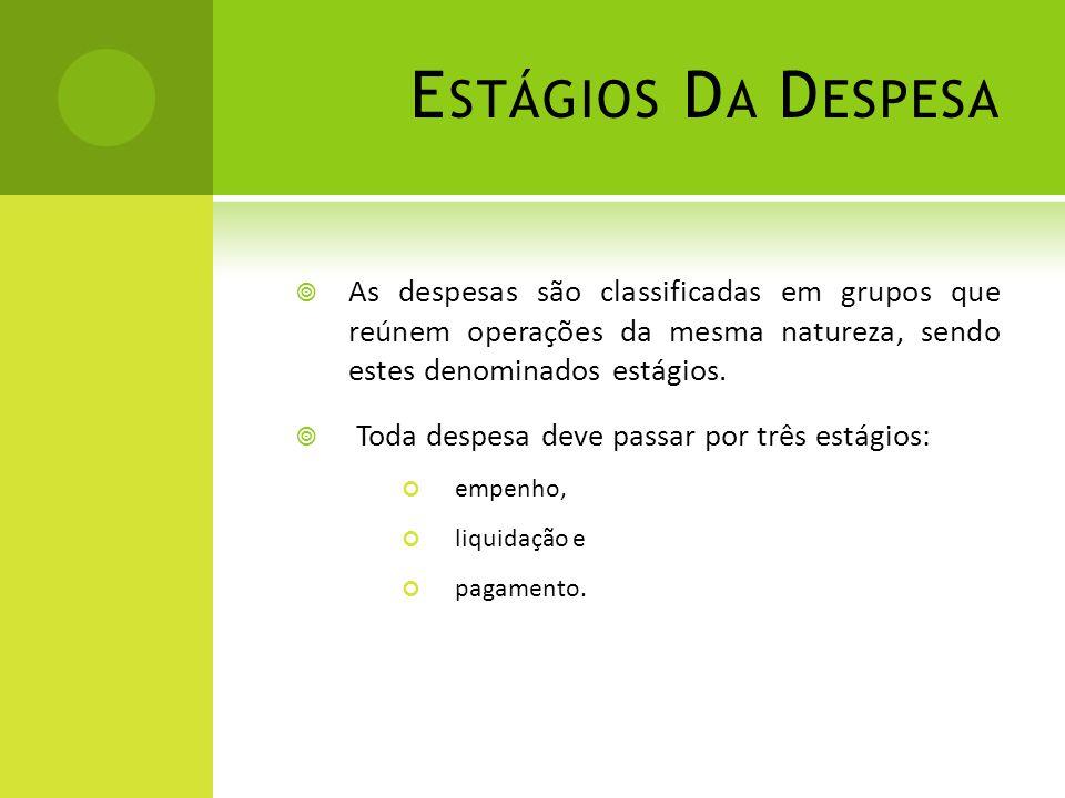 E STÁGIOS D A D ESPESA  As despesas são classificadas em grupos que reúnem operações da mesma natureza, sendo estes denominados estágios.  Toda desp