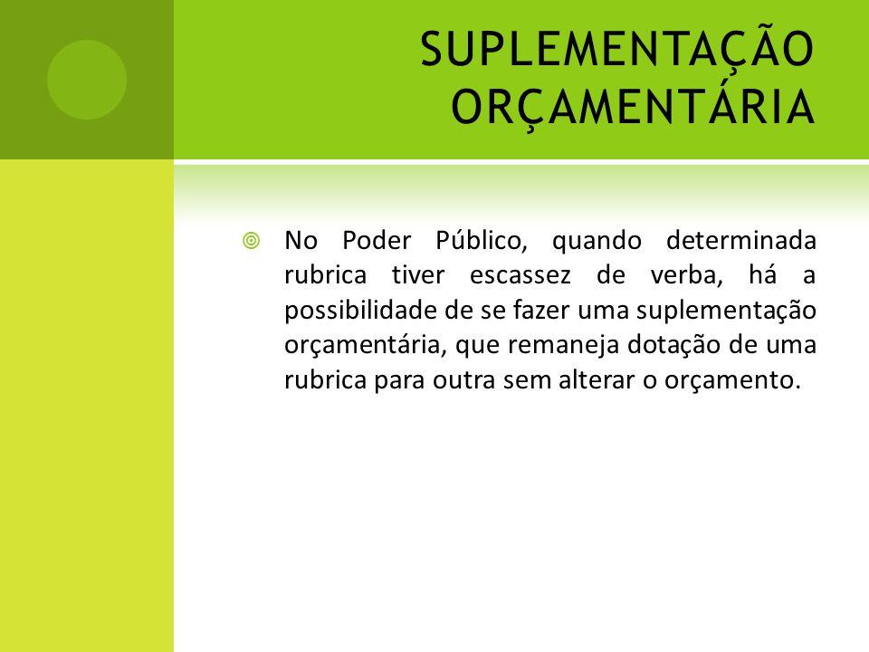 SUPLEMENTAÇÃO ORÇAMENTÁRIA  No Poder Público, quando determinada rubrica tiver escassez de verba, há a possibilidade de se fazer uma suplementação or