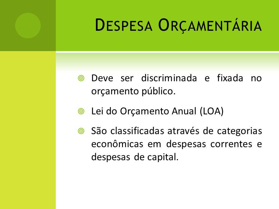 D ESPESA O RÇAMENTÁRIA  Deve ser discriminada e fixada no orçamento público.  Lei do Orçamento Anual (LOA)  São classificadas através de categorias