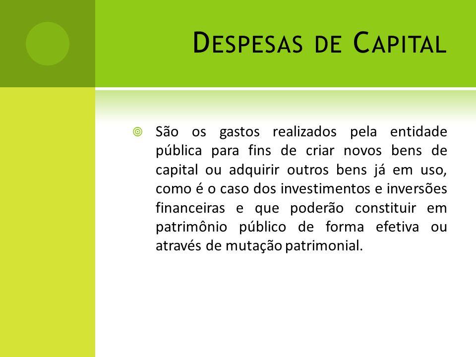D ESPESAS DE C APITAL  São os gastos realizados pela entidade pública para fins de criar novos bens de capital ou adquirir outros bens já em uso, com