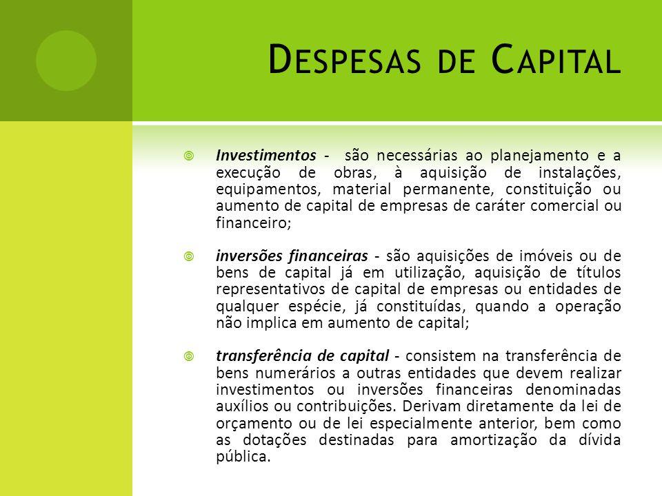 D ESPESAS DE C APITAL  Investimentos - são necessárias ao planejamento e a execução de obras, à aquisição de instalações, equipamentos, material perm