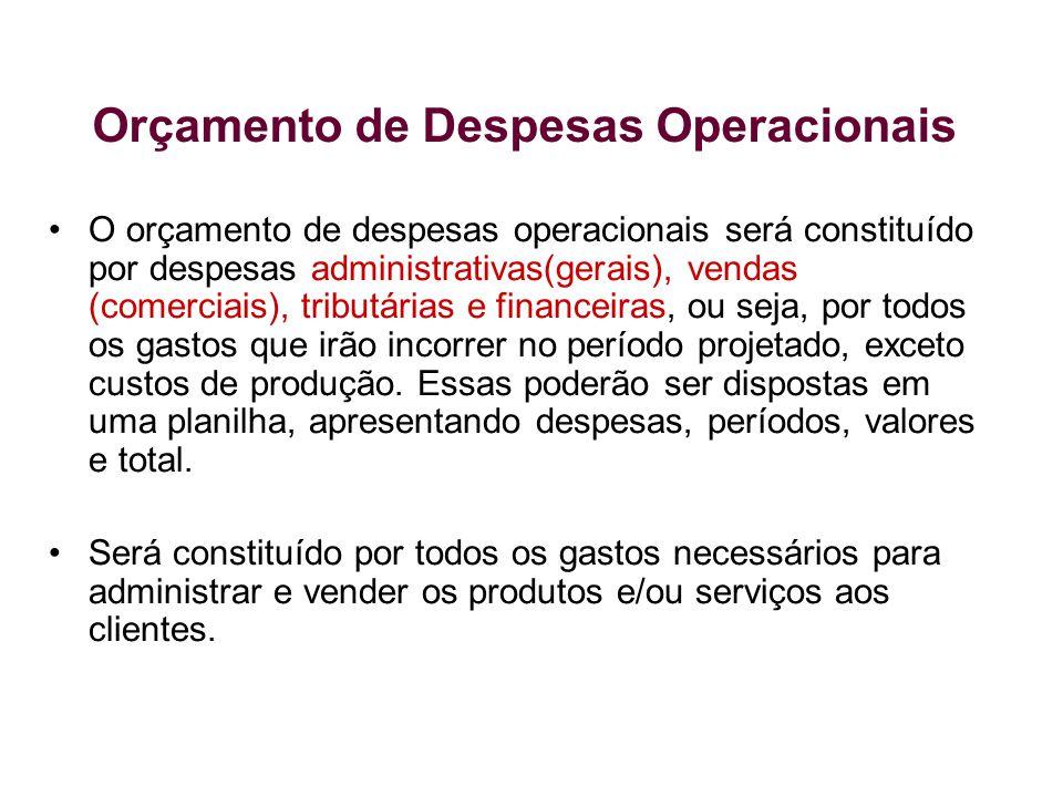 O orçamento de despesas operacionais será constituído por despesas administrativas(gerais), vendas (comerciais), tributárias e financeiras, ou seja, p