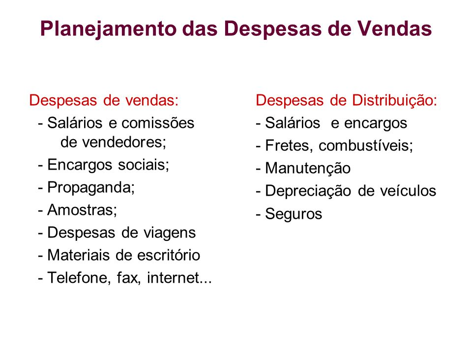 Planejamento das Despesas de Vendas Despesas de vendas: - Salários e comissões de vendedores; - Encargos sociais; - Propaganda; - Amostras; - Despesas