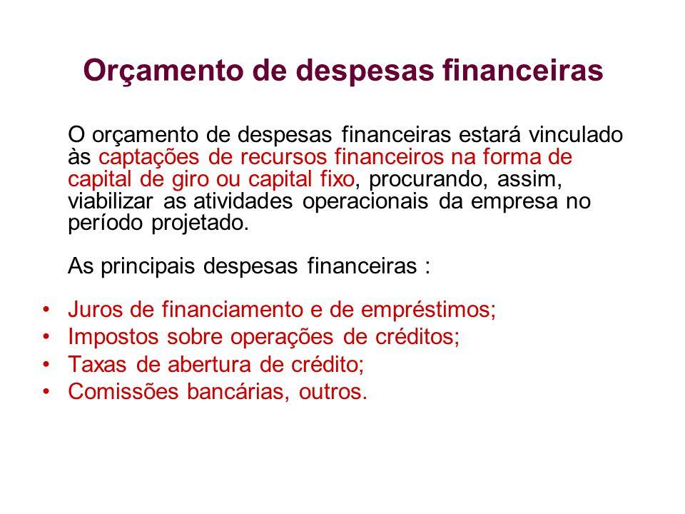 O orçamento de despesas financeiras estará vinculado às captações de recursos financeiros na forma de capital de giro ou capital fixo, procurando, ass
