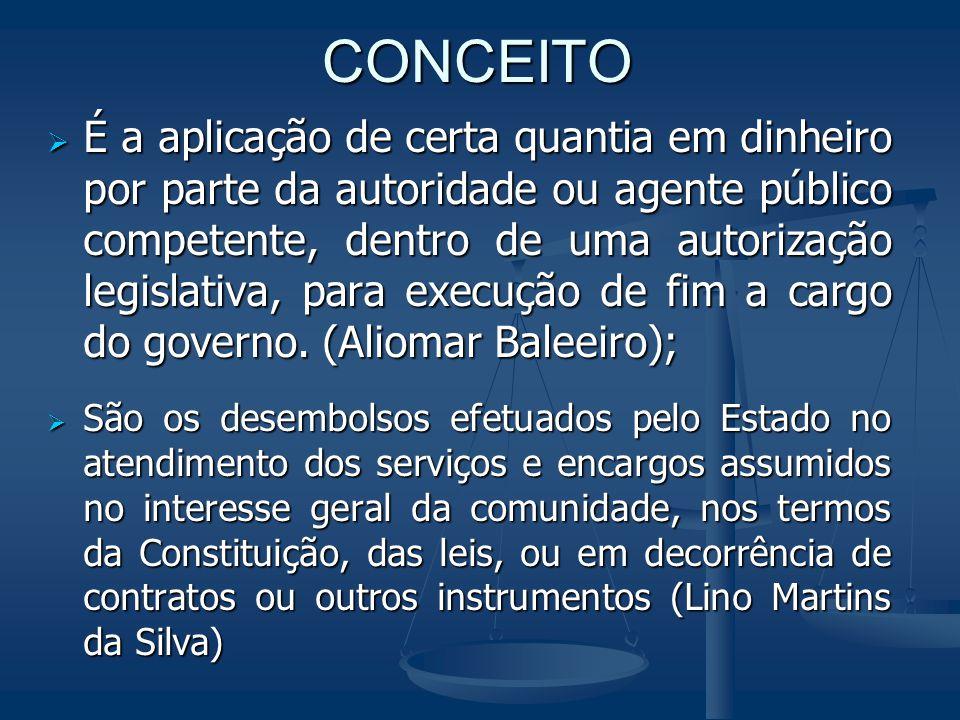 CONCEITO  É a aplicação de certa quantia em dinheiro por parte da autoridade ou agente público competente, dentro de uma autorização legislativa, par