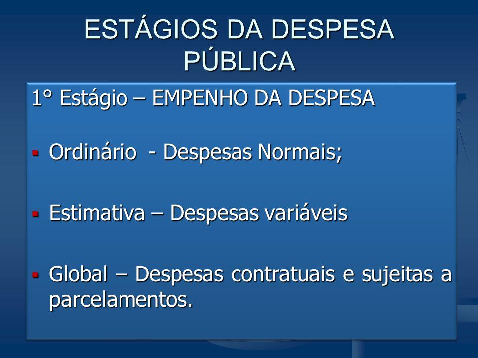 ESTÁGIOS DA DESPESA PÚBLICA 1° Estágio – EMPENHO DA DESPESA  Ordinário - Despesas Normais;  Estimativa – Despesas variáveis  Global – Despesas cont
