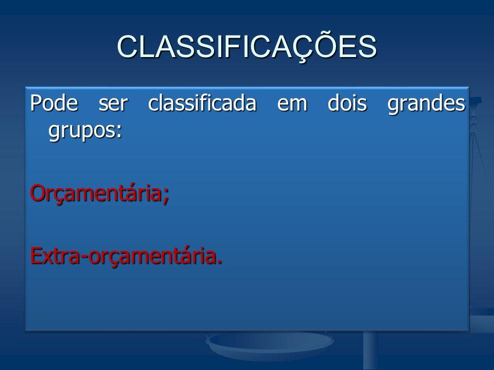 CLASSIFICAÇÕES Pode ser classificada em dois grandes grupos: Orçamentária;Extra-orçamentária. Orçamentária;Extra-orçamentária.