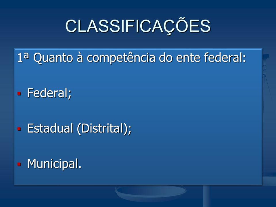 CLASSIFICAÇÕES 1ª Quanto à competência do ente federal:  Federal;  Estadual (Distrital);  Municipal. 1ª Quanto à competência do ente federal:  Fed