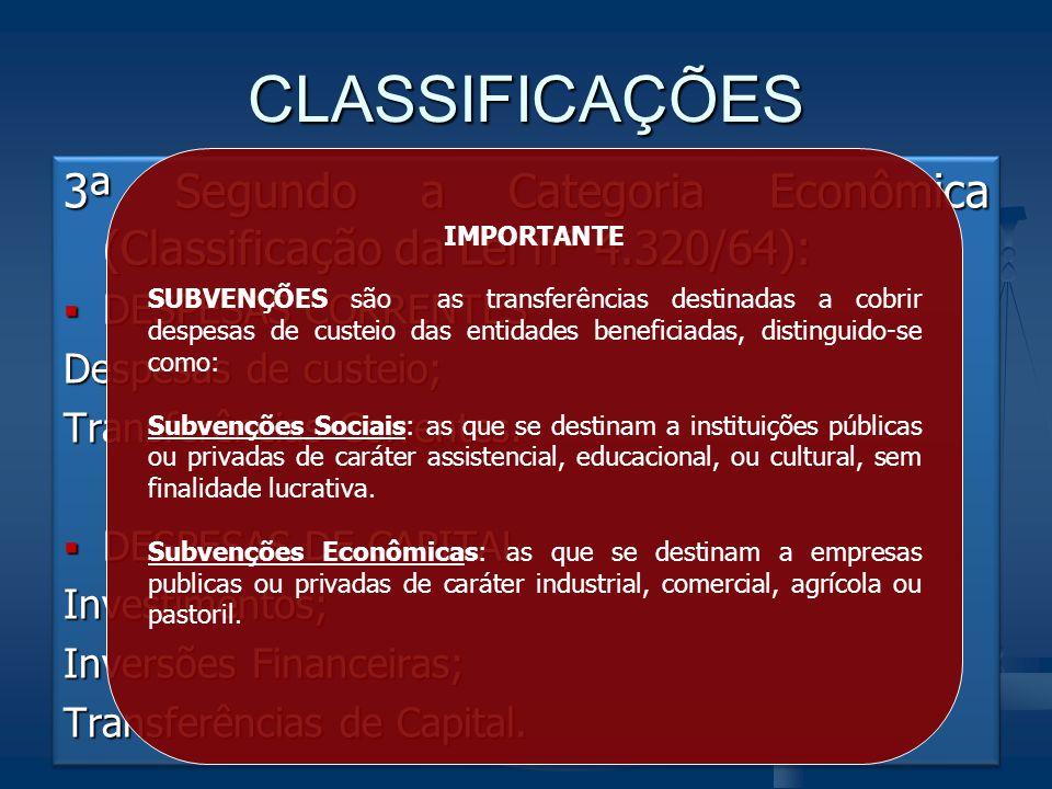 CLASSIFICAÇÕES 3ª Segundo a Categoria Econômica (Classificação da Lei n° 4.320/64):  DESPESAS CORRENTES Despesas de custeio; Transferências Correntes