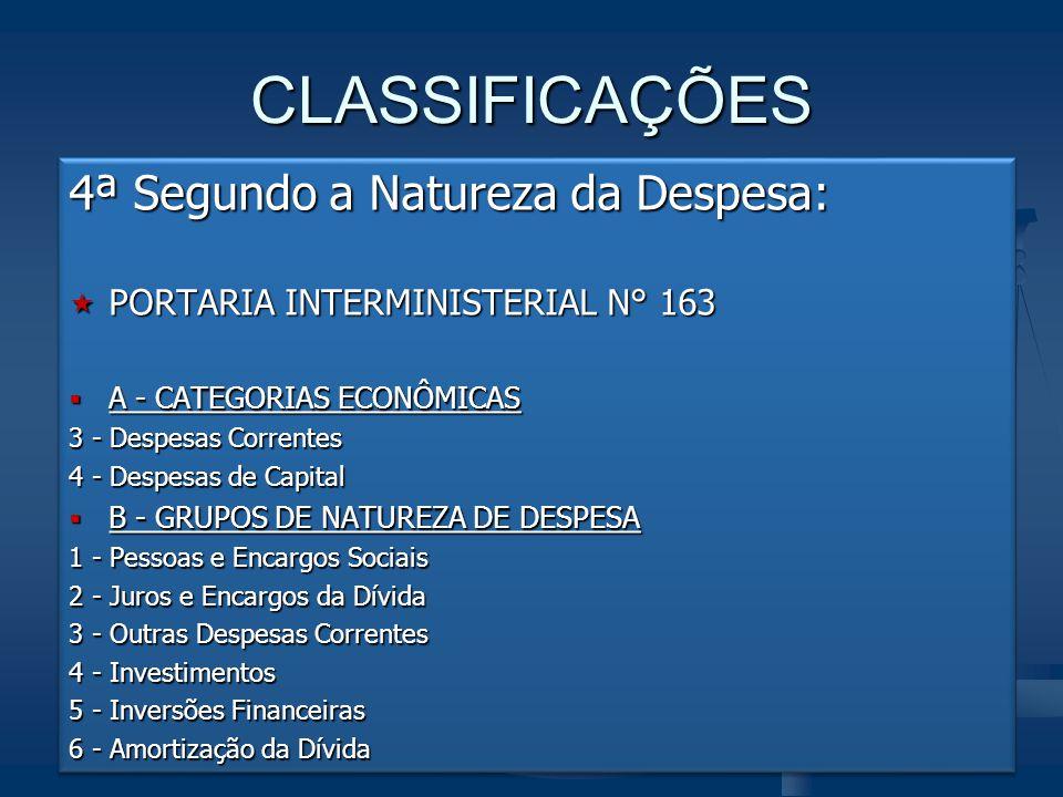 CLASSIFICAÇÕES 4ª Segundo a Natureza da Despesa:  PORTARIA INTERMINISTERIAL N° 163  A - CATEGORIAS ECONÔMICAS 3 - Despesas Correntes 4 - Despesas de