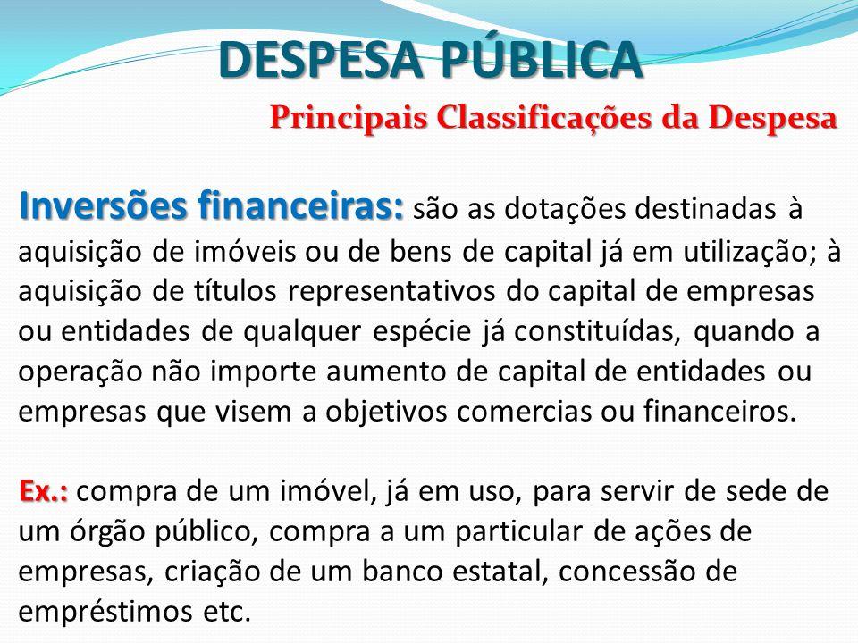 DESPESA PÚBLICA Principais Classificações da Despesa Inversões financeiras: Inversões financeiras: são as dotações destinadas à aquisição de imóveis o