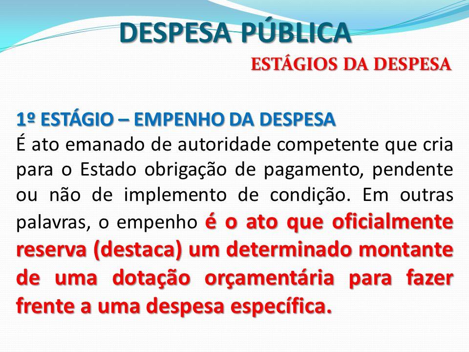 DESPESA PÚBLICA 1º ESTÁGIO – EMPENHO DA DESPESA é o ato que oficialmente reserva (destaca) um determinado montante de uma dotação orçamentária para fa