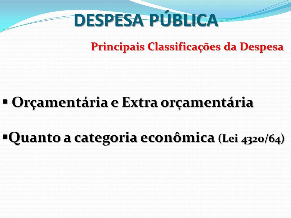 Principais Classificações da Despesa  Orçamentária e Extra orçamentária  Quanto a categoria econômica (Lei 4320/64)