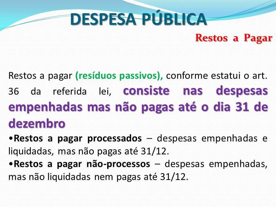 DESPESA PÚBLICA Restos a Pagar consiste nas despesas empenhadas mas não pagas até o dia 31 de dezembro Restos a pagar (resíduos passivos), conforme es