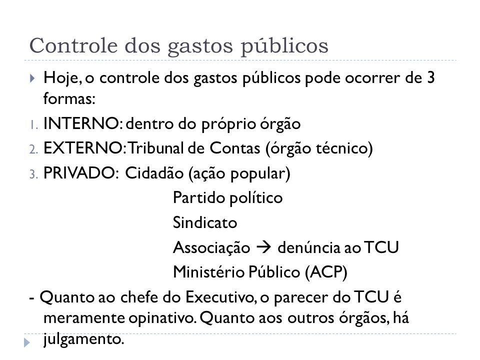 Controle dos gastos públicos  Hoje, o controle dos gastos públicos pode ocorrer de 3 formas: 1. INTERNO: dentro do próprio órgão 2. EXTERNO: Tribunal