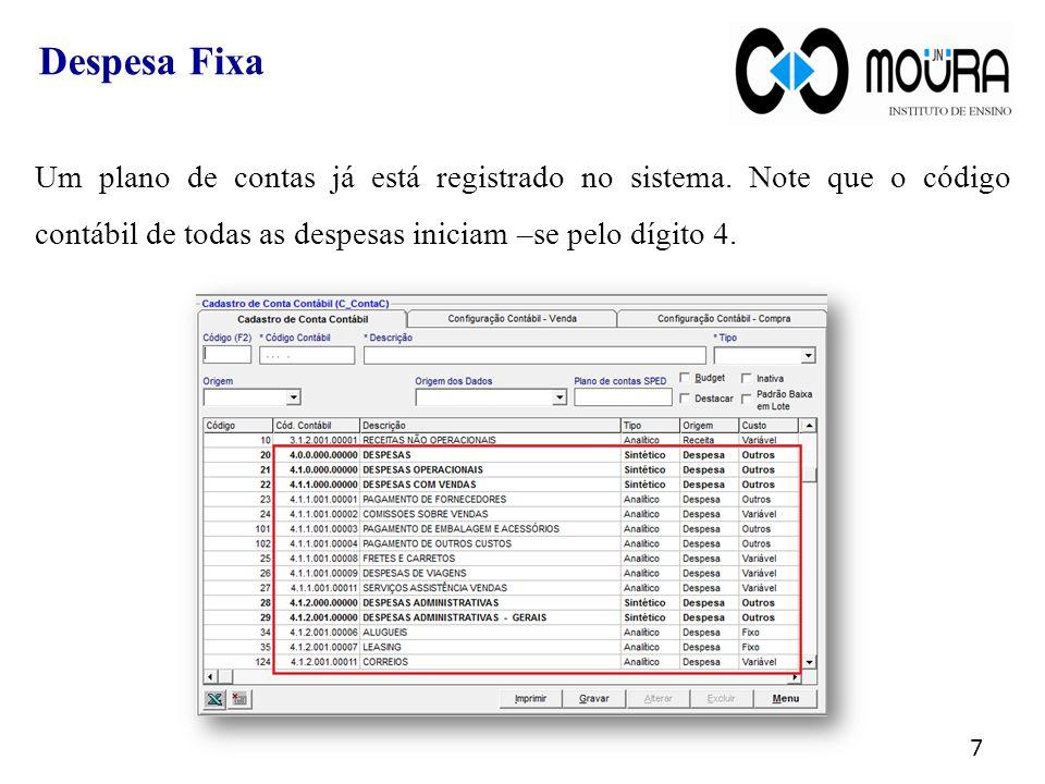Um plano de contas já está registrado no sistema.