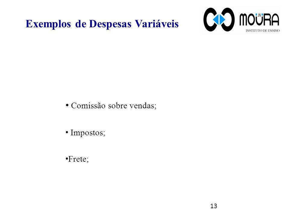Exemplos de Despesas Variáveis Comissão sobre vendas; Impostos; Frete; 13