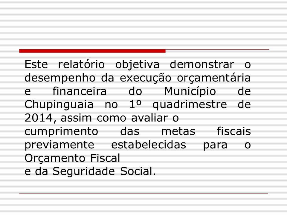 Este relatório objetiva demonstrar o desempenho da execução orçamentária e financeira do Município de Chupinguaia no 1º quadrimestre de 2014, assim co