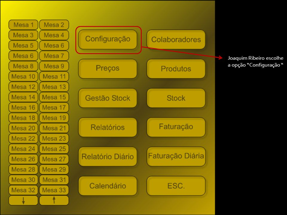 Joaquim Ribeiro escolhe a opção Configuração