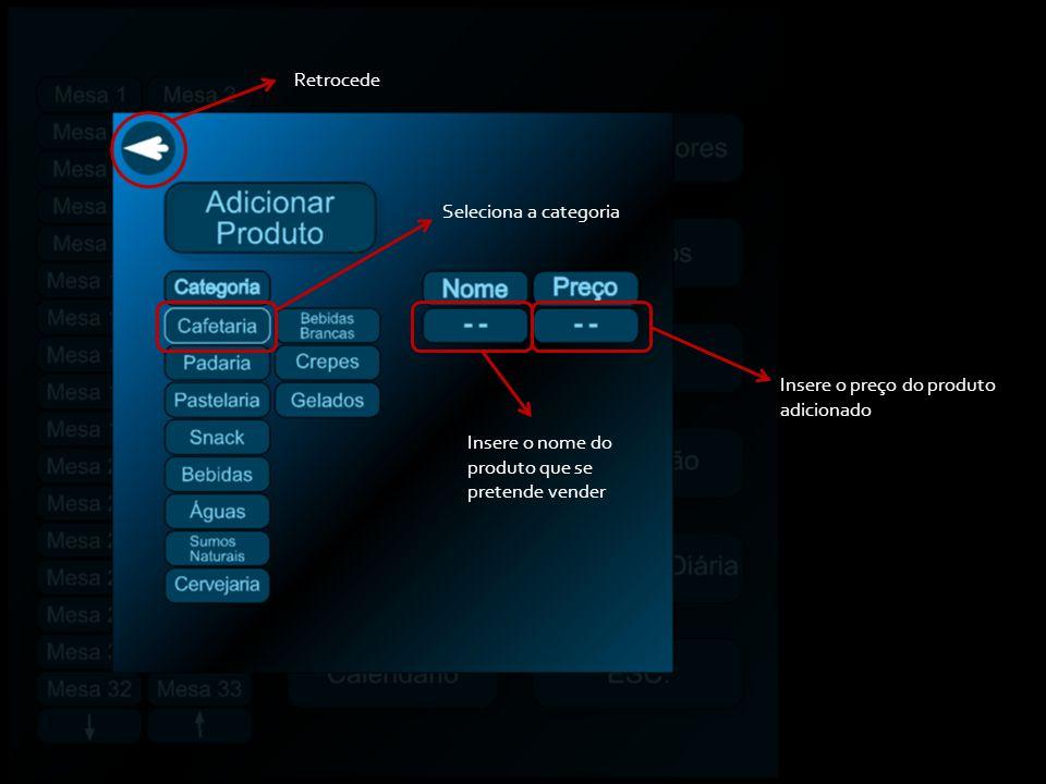 Seleciona a categoria Insere o nome do produto que se pretende vender Insere o preço do produto adicionado Retrocede