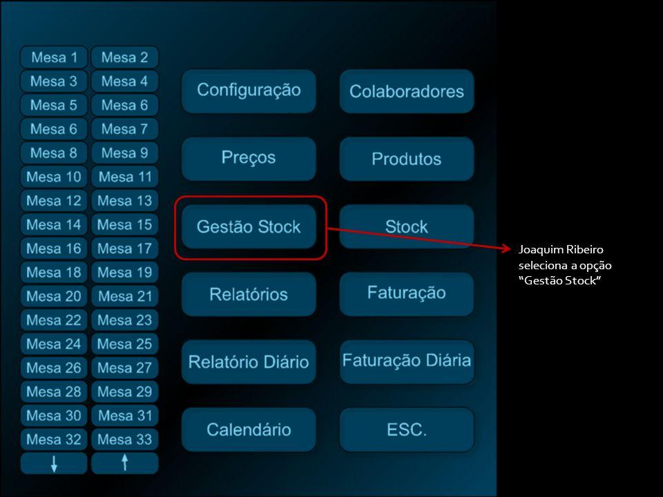 Joaquim Ribeiro seleciona a opção Gestão Stock