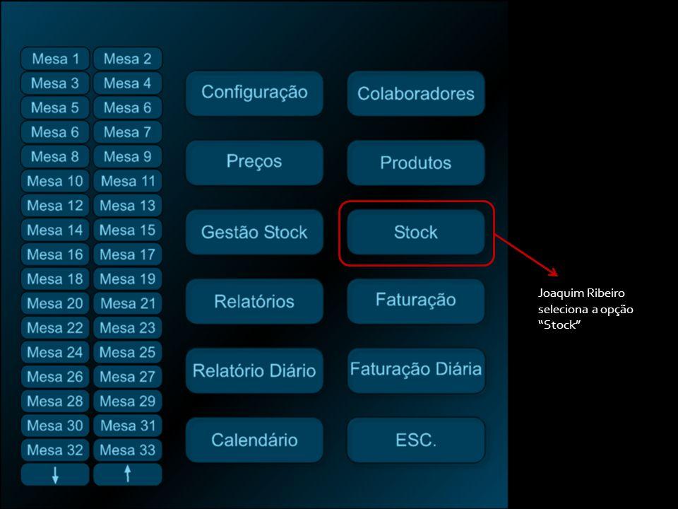 Joaquim Ribeiro seleciona a opção Stock
