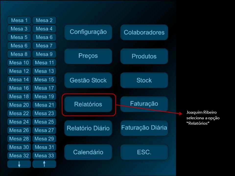 Joaquim Ribeiro seleciona a opção Relatórios