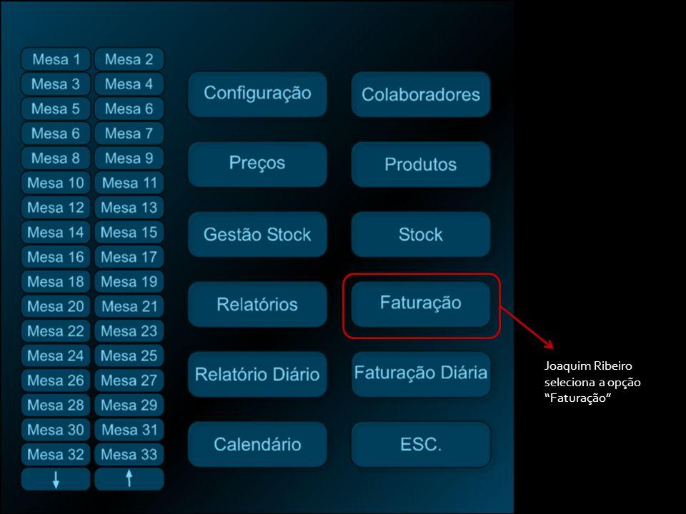 Joaquim Ribeiro seleciona a opção Faturação