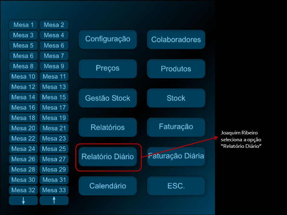 Joaquim Ribeiro seleciona a opção Relatório Diário