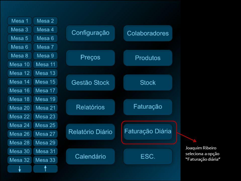 Joaquim Ribeiro seleciona a opção Faturação diária