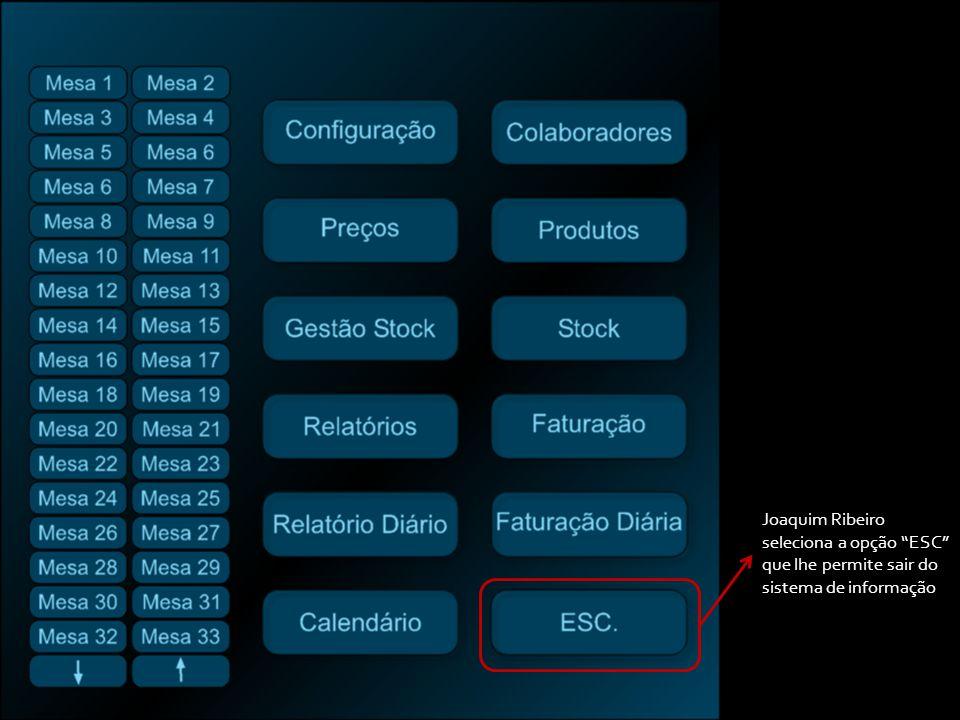 Joaquim Ribeiro seleciona a opção ESC que lhe permite sair do sistema de informação