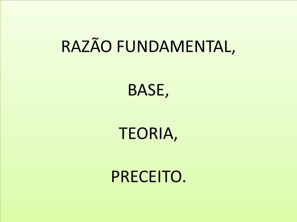 RAZÃO FUNDAMENTAL, BASE, TEORIA, PRECEITO.