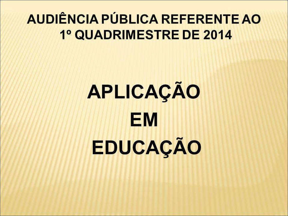 AUDIÊNCIA PÚBLICA REFERENTE AO 1º QUADRIMESTRE DE 2014 APLICAÇÃO EM EDUCAÇÃO