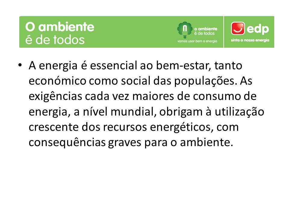 A energia é essencial ao bem-estar, tanto económico como social das populações. As exigências cada vez maiores de consumo de energia, a nível mundial,