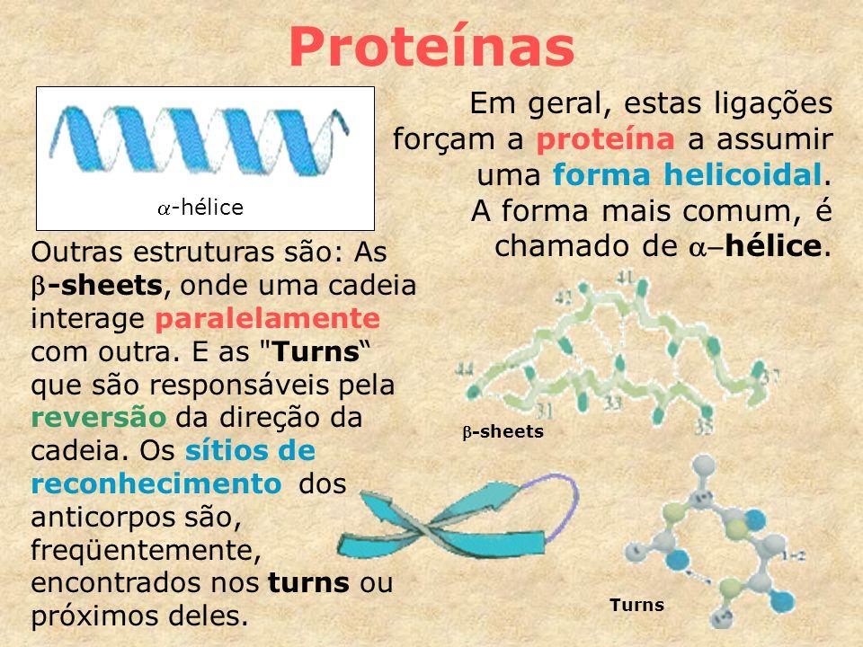 Proteínas Em geral, estas ligações forçam a proteína a assumir uma forma helicoidal.