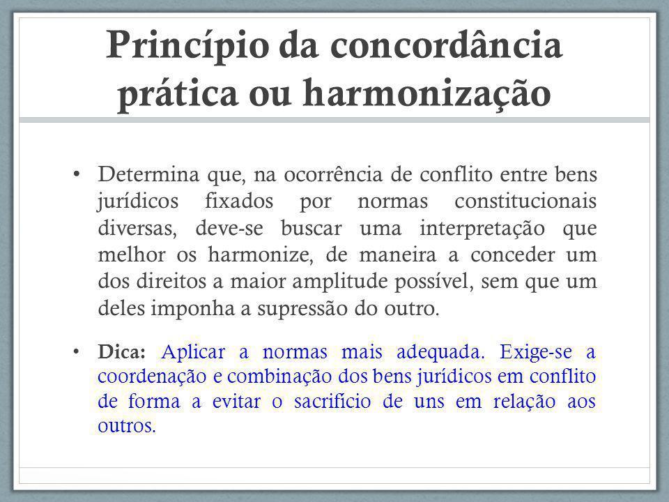 Princípio da concordância prática ou harmonização Determina que, na ocorrência de conflito entre bens jurídicos fixados por normas constitucionais div