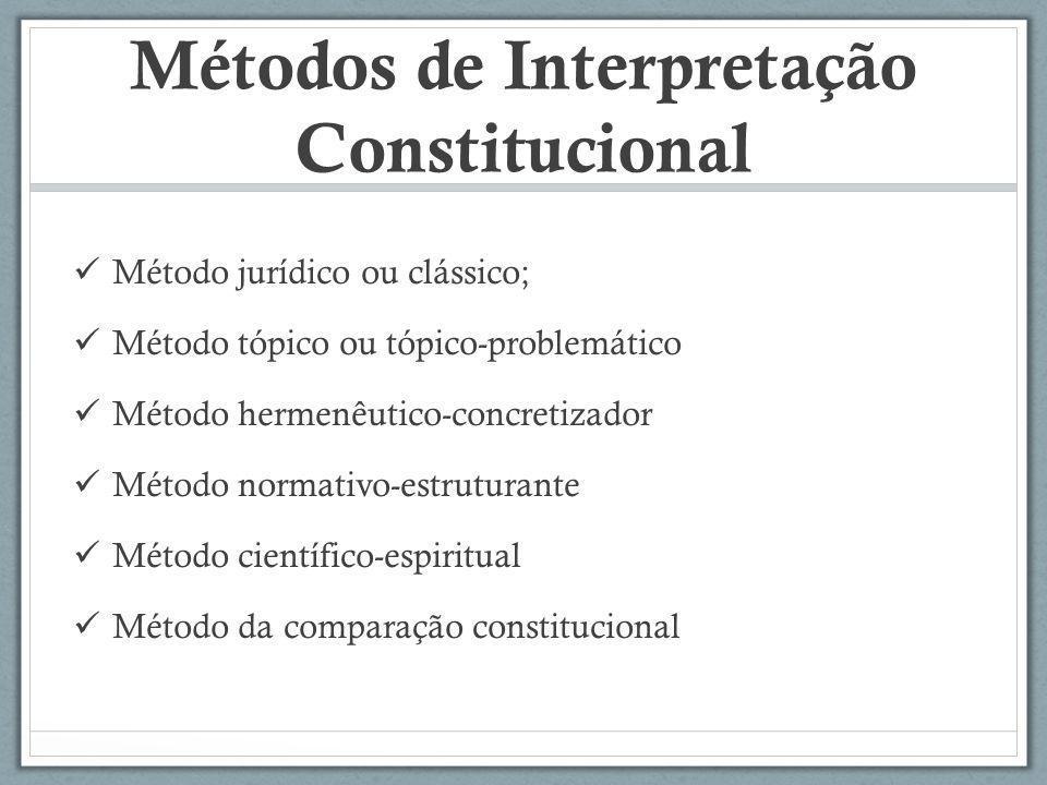 Métodos de Interpretação Constitucional Método jurídico ou clássico; Método tópico ou tópico-problemático Método hermenêutico-concretizador Método nor