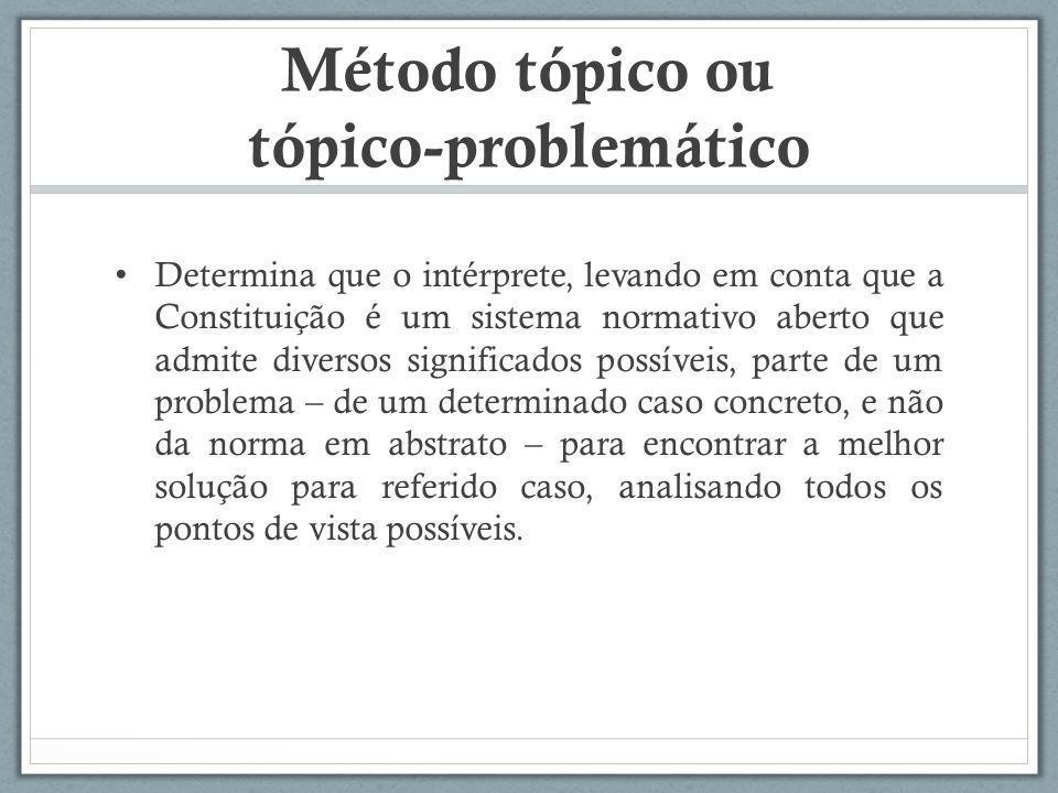 Método tópico ou tópico-problemático Determina que o intérprete, levando em conta que a Constituição é um sistema normativo aberto que admite diversos